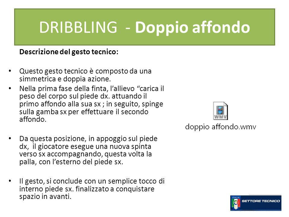 DRIBBLING - Doppio affondo Descrizione del gesto tecnico: Questo gesto tecnico è composto da una simmetrica e doppia azione.