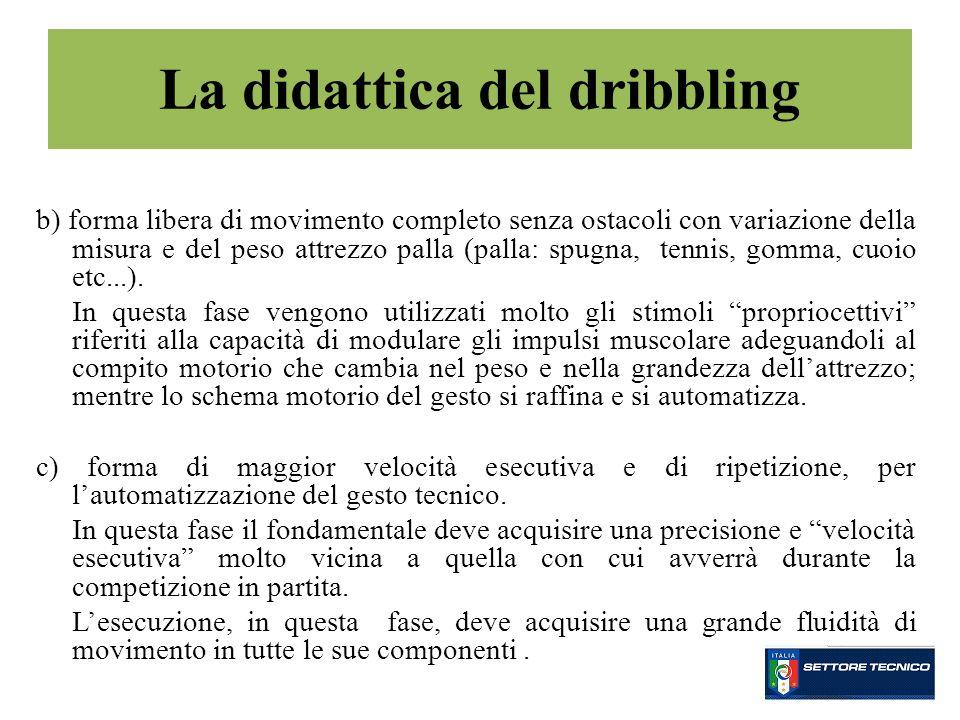 b) forma libera di movimento completo senza ostacoli con variazione della misura e del peso attrezzo palla (palla: spugna, tennis, gomma, cuoio etc...