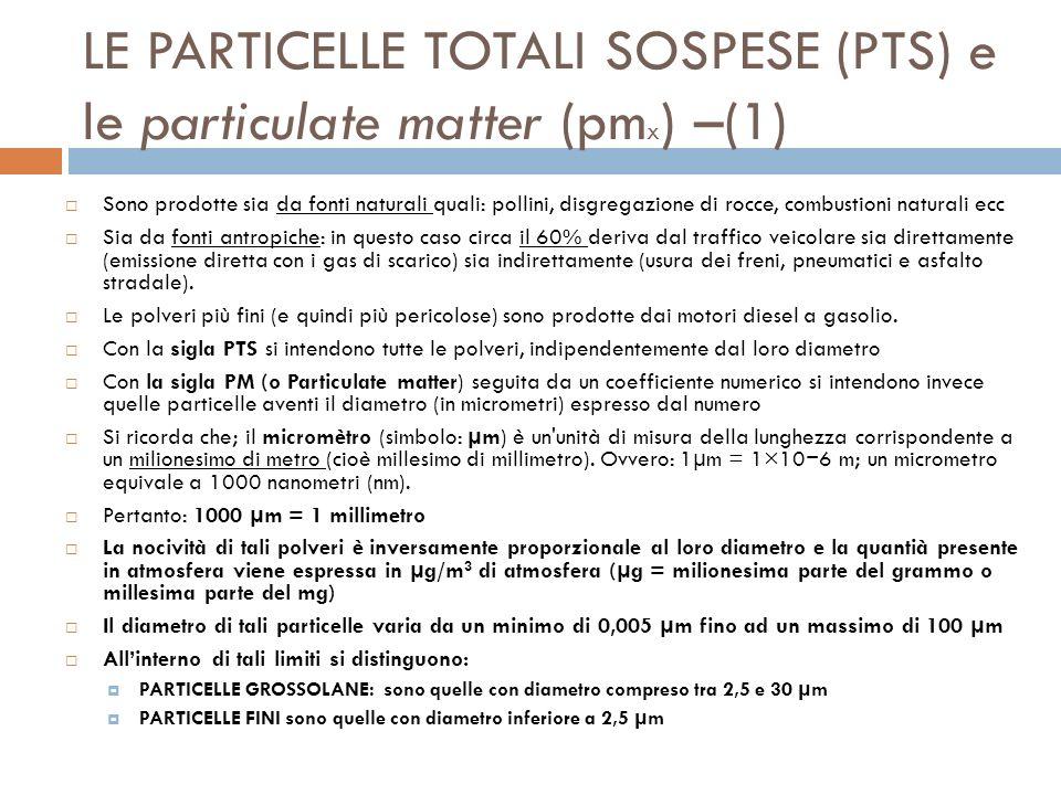 LE PARTICELLE TOTALI SOSPESE (PTS) e le particulate matter (pm x ) –(2) Le particelle con diametro superiore a 10 µm (PM 10 ) vengono chiamate inalabili perché vengono trattenute nella parte alta dellalbero respiratorio Le particelle con diametro inferiore a 2,5 µm (PM 2,5 ) vengono chiamate respirabili perché raggiungono direttamente gli alveoli polmonari dove si annidano (sono le più pericolose).