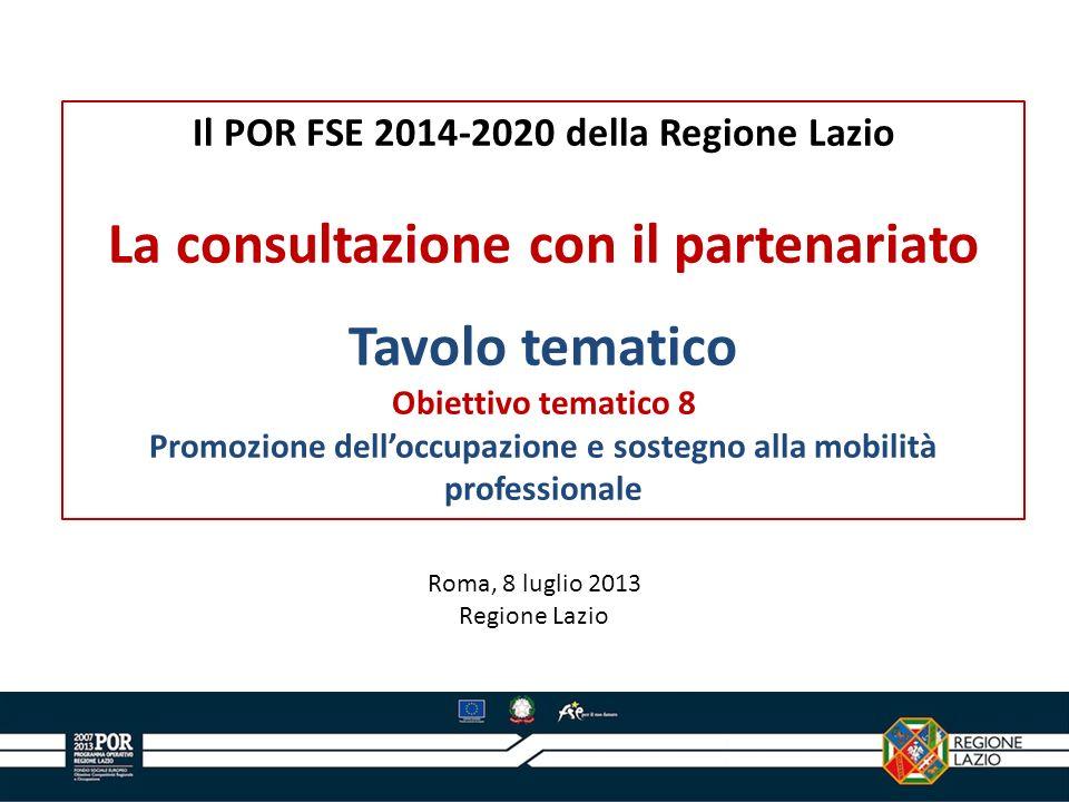 Il POR FSE 2014-2020 della Regione Lazio La consultazione con il partenariato Tavolo tematico Obiettivo tematico 8 Promozione delloccupazione e sosteg