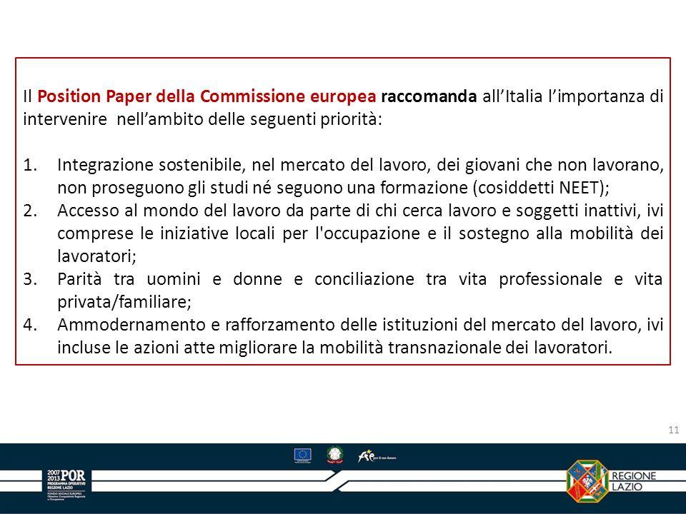 Il Position Paper della Commissione europea raccomanda allItalia limportanza di intervenire nellambito delle seguenti priorità: 1.Integrazione sosteni