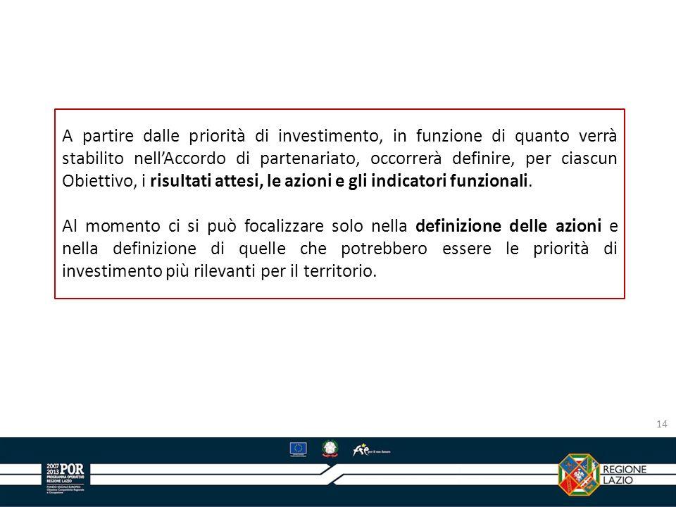 14 A partire dalle priorità di investimento, in funzione di quanto verrà stabilito nellAccordo di partenariato, occorrerà definire, per ciascun Obiett