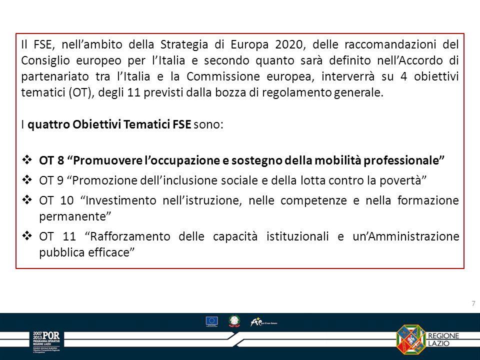 7 Il FSE, nellambito della Strategia di Europa 2020, delle raccomandazioni del Consiglio europeo per lItalia e secondo quanto sarà definito nellAccord
