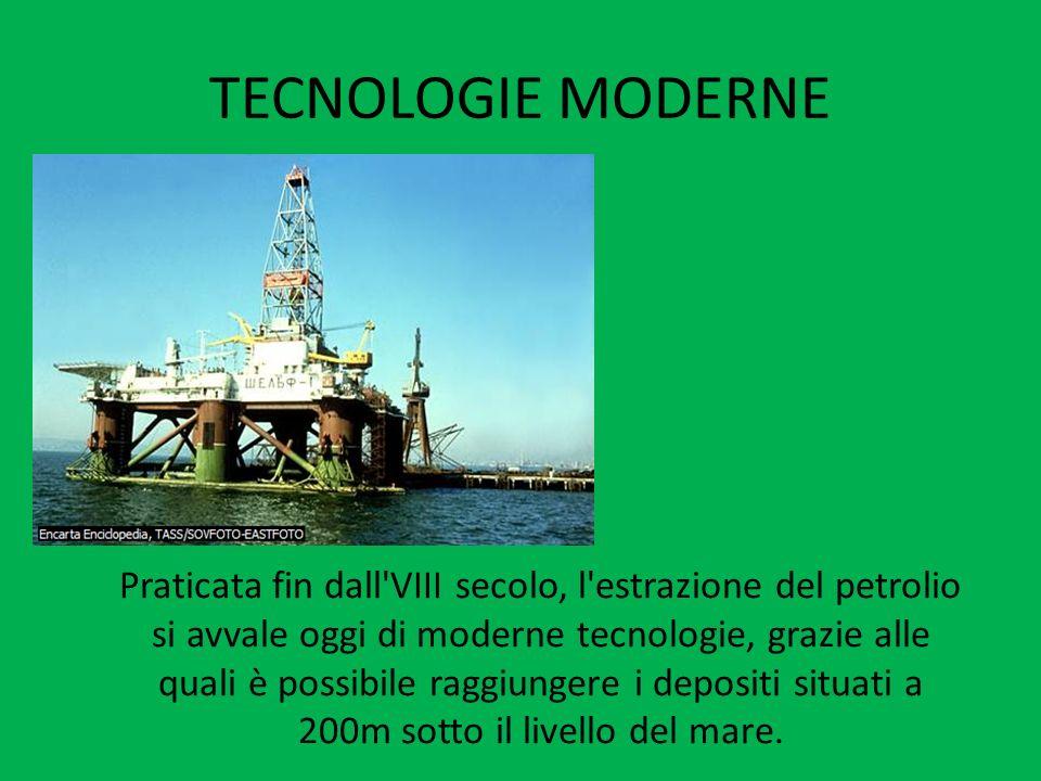 TECNOLOGIE MODERNE Praticata fin dall'VIII secolo, l'estrazione del petrolio si avvale oggi di moderne tecnologie, grazie alle quali è possibile raggi