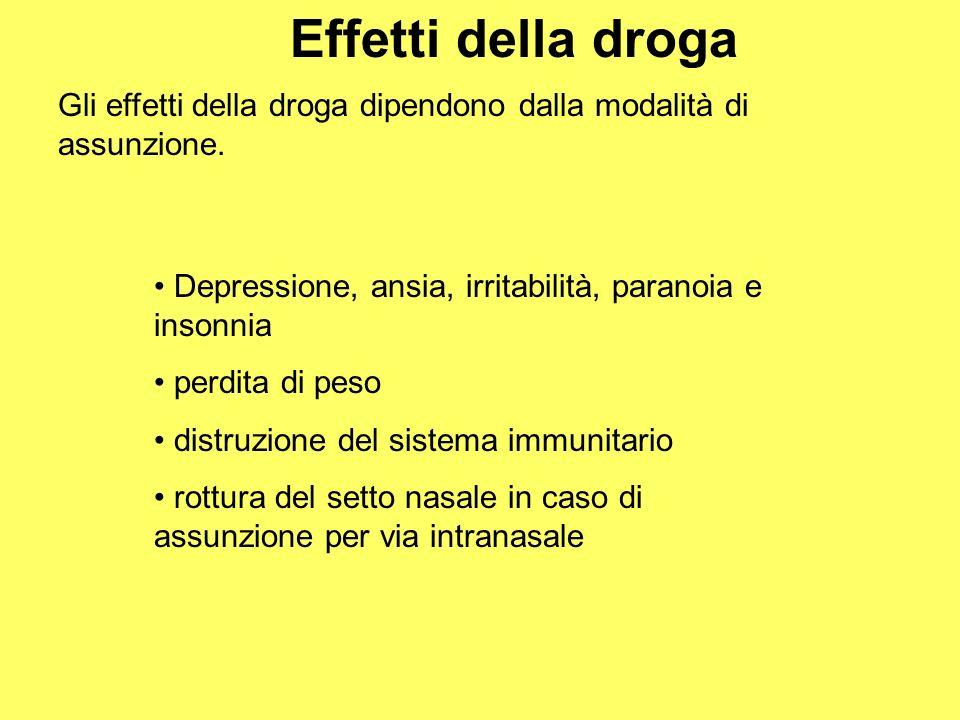 Effetti della droga Gli effetti della droga dipendono dalla modalità di assunzione. Depressione, ansia, irritabilità, paranoia e insonnia perdita di p