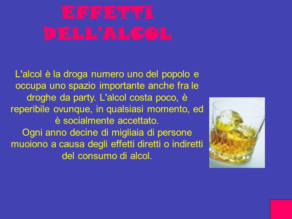 EFFETTI DELLALCOL L'alcol è la droga numero uno del popolo e occupa uno spazio importante anche fra le droghe da party. L'alcol costa poco, è reperibi