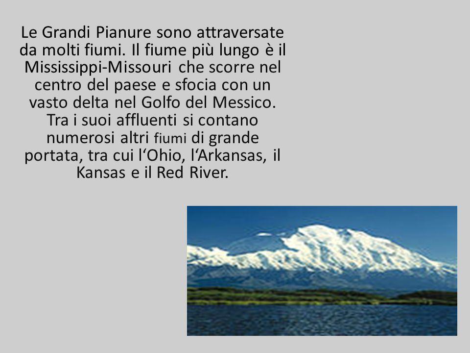 Le Grandi Pianure sono attraversate da molti fiumi. Il fiume più lungo è il Mississippi-Missouri che scorre nel centro del paese e sfocia con un vasto