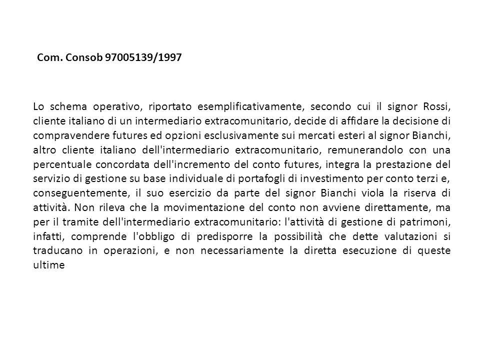 Lo schema operativo, riportato esemplificativamente, secondo cui il signor Rossi, cliente italiano di un intermediario extracomunitario, decide di aff