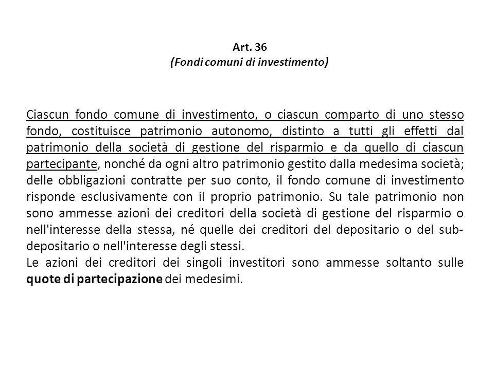 Ciascun fondo comune di investimento, o ciascun comparto di uno stesso fondo, costituisce patrimonio autonomo, distinto a tutti gli effetti dal patrim