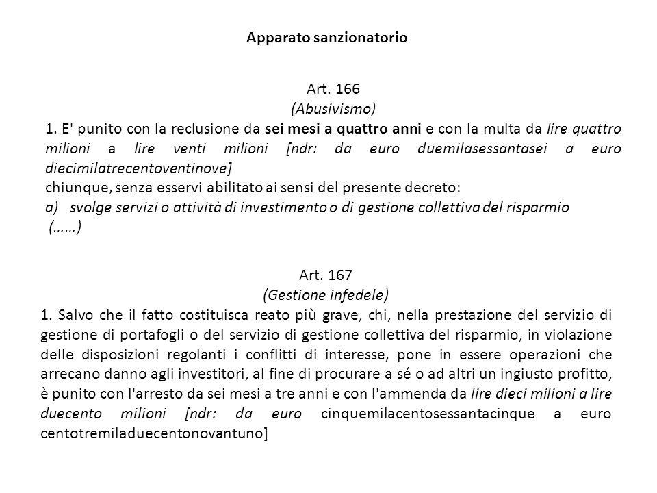 Art. 167 (Gestione infedele) 1. Salvo che il fatto costituisca reato più grave, chi, nella prestazione del servizio di gestione di portafogli o del se