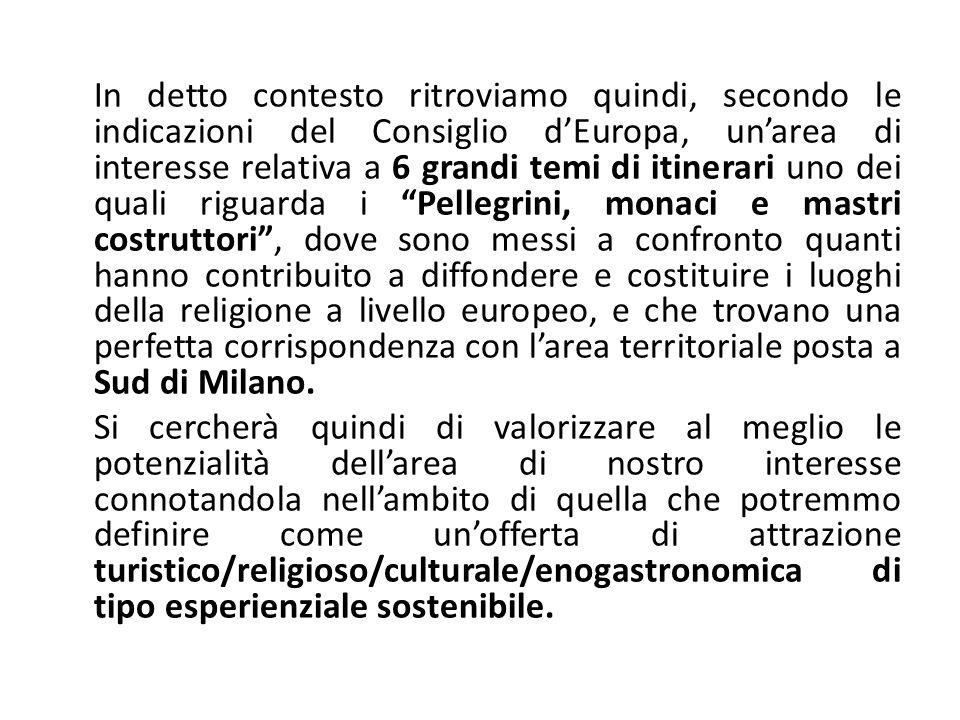 In detto contesto ritroviamo quindi, secondo le indicazioni del Consiglio dEuropa, unarea di interesse relativa a 6 grandi temi di itinerari uno dei q