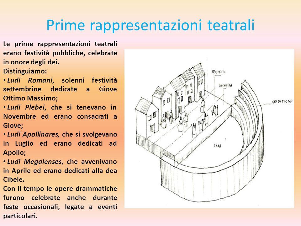 Prime rappresentazioni teatrali Le prime rappresentazioni teatrali erano festività pubbliche, celebrate in onore degli dei. Distinguiamo: Ludi Romani,