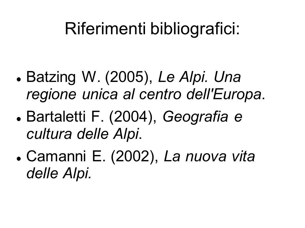 Riferimenti bibliografici: Batzing W. (2005), Le Alpi. Una regione unica al centro dell'Europa. Bartaletti F. (2004), Geografia e cultura delle Alpi.