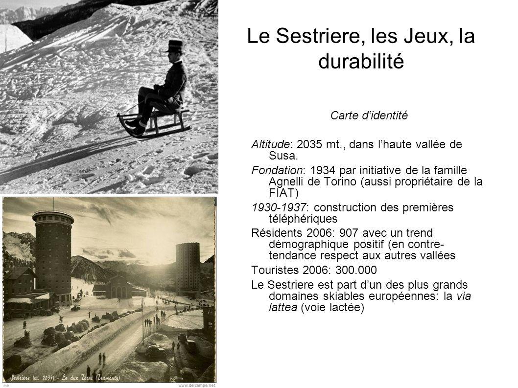 Le Sestriere, les Jeux, la durabilité Carte didentité Altitude: 2035 mt., dans lhaute vallée de Susa. Fondation: 1934 par initiative de la famille Agn