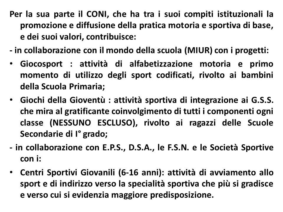 Per la sua parte il CONI, che ha tra i suoi compiti istituzionali la promozione e diffusione della pratica motoria e sportiva di base, e dei suoi valo