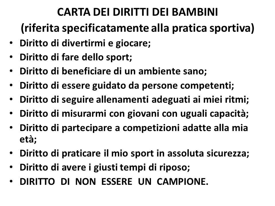 CARTA DEI DIRITTI DEI BAMBINI (riferita specificatamente alla pratica sportiva) Diritto di divertirmi e giocare; Diritto di fare dello sport; Diritto