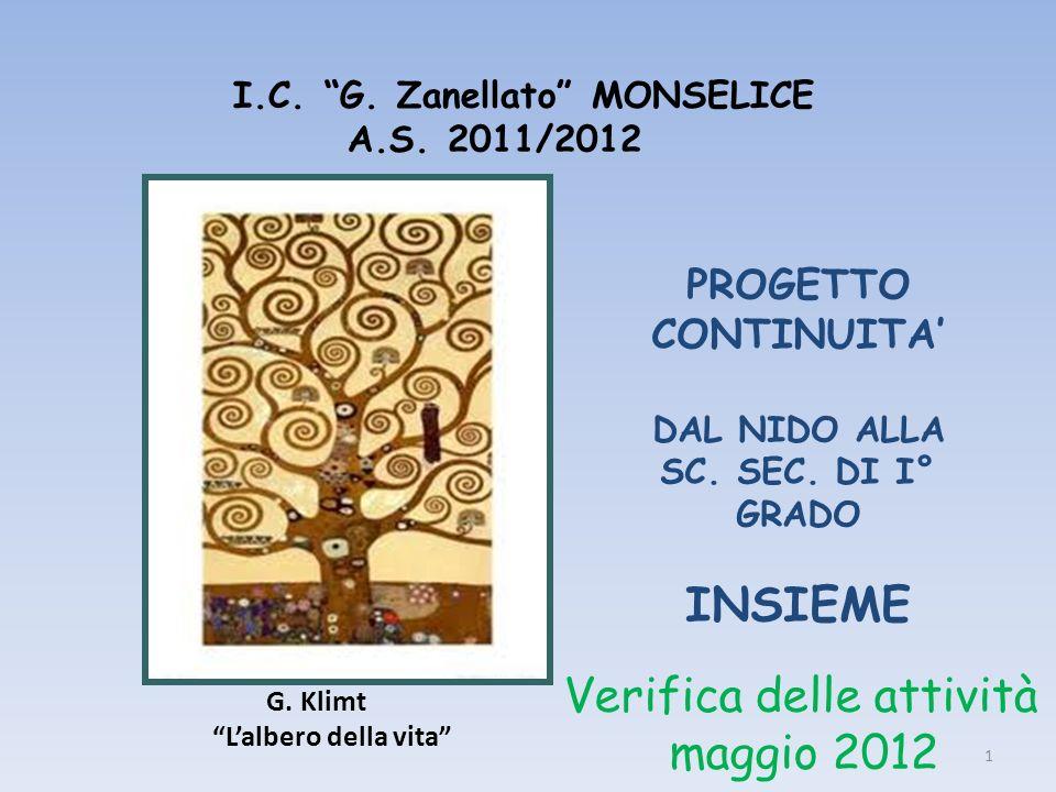 I.C. G. Zanellato MONSELICE A.S. 2011/2012 1 G. Klimt Lalbero della vita PROGETTO CONTINUITA DAL NIDO ALLA SC. SEC. DI I° GRADO INSIEME Verifica delle