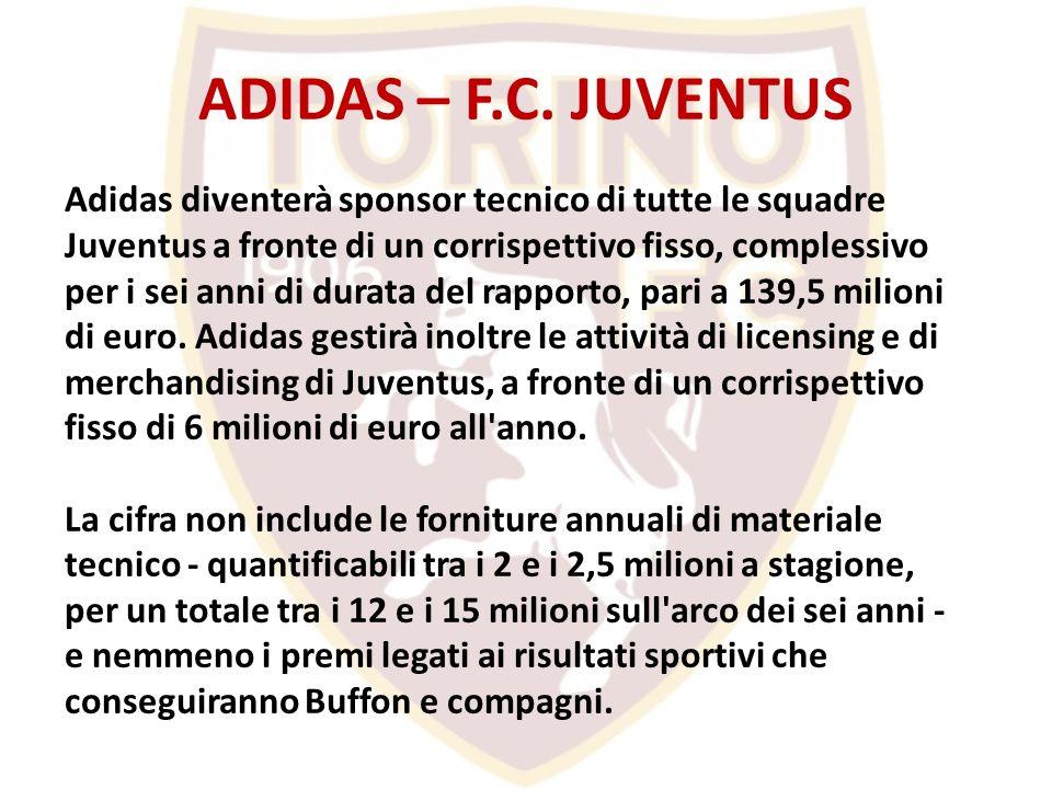 ADIDAS – F.C. JUVENTUS Adidas diventerà sponsor tecnico di tutte le squadre Juventus a fronte di un corrispettivo fisso, complessivo per i sei anni di