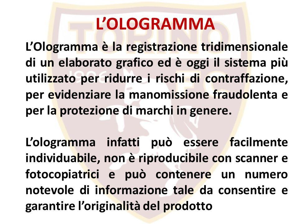 LOlogramma è la registrazione tridimensionale di un elaborato grafico ed è oggi il sistema più utilizzato per ridurre i rischi di contraffazione, per