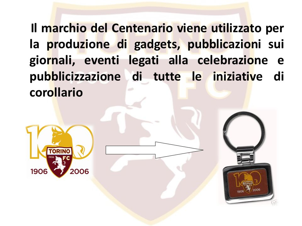 Il marchio del Centenario viene utilizzato per la produzione di gadgets, pubblicazioni sui giornali, eventi legati alla celebrazione e pubblicizzazion