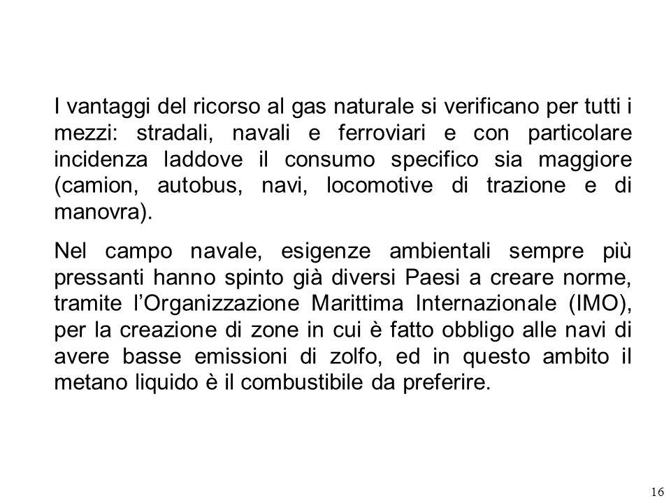 16 I vantaggi del ricorso al gas naturale si verificano per tutti i mezzi: stradali, navali e ferroviari e con particolare incidenza laddove il consum