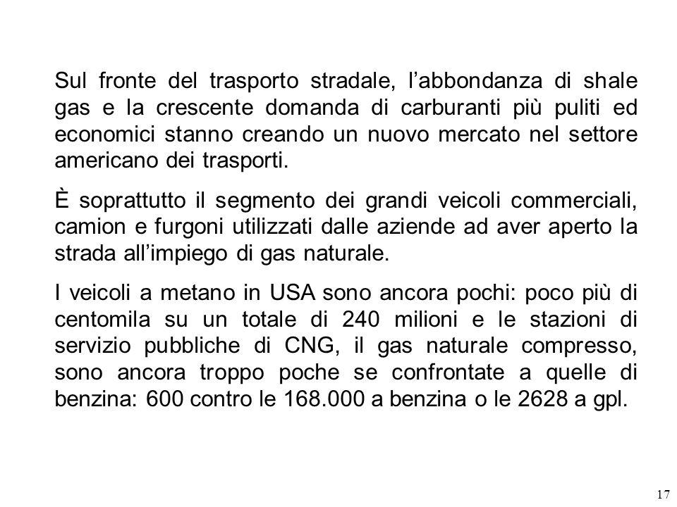 17 Sul fronte del trasporto stradale, labbondanza di shale gas e la crescente domanda di carburanti più puliti ed economici stanno creando un nuovo me