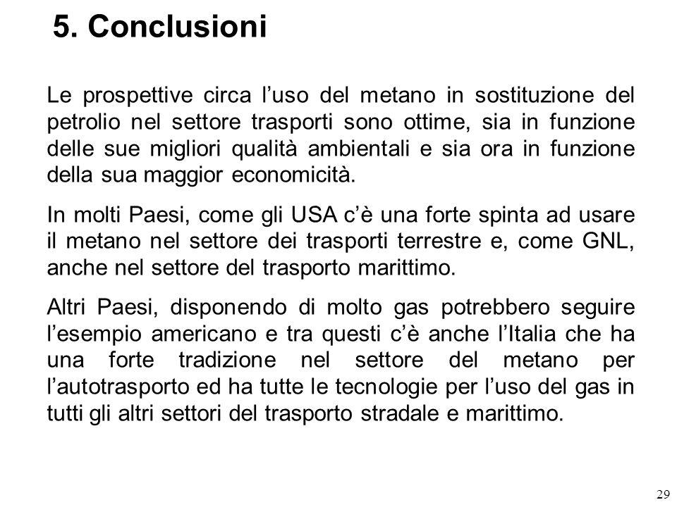 29 5. Conclusioni Le prospettive circa luso del metano in sostituzione del petrolio nel settore trasporti sono ottime, sia in funzione delle sue migli
