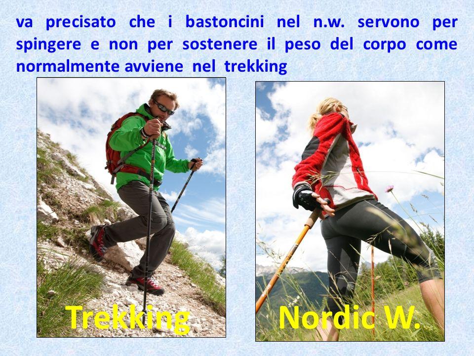 va precisato che i bastoncini nel n.w. servono per spingere e non per sostenere il peso del corpo come normalmente avviene nel trekking TrekkingNordic