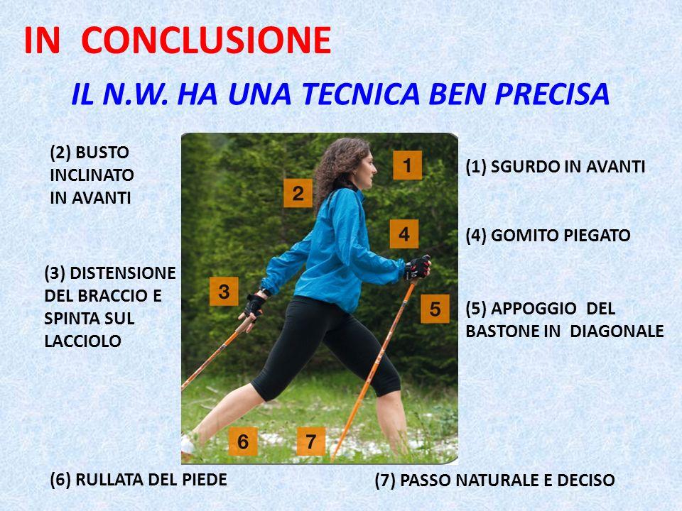 IL N.W. HA UNA TECNICA BEN PRECISA (1) SGURDO IN AVANTI (4) GOMITO PIEGATO (6) RULLATA DEL PIEDE (5) APPOGGIO DEL BASTONE IN DIAGONALE (3) DISTENSIONE