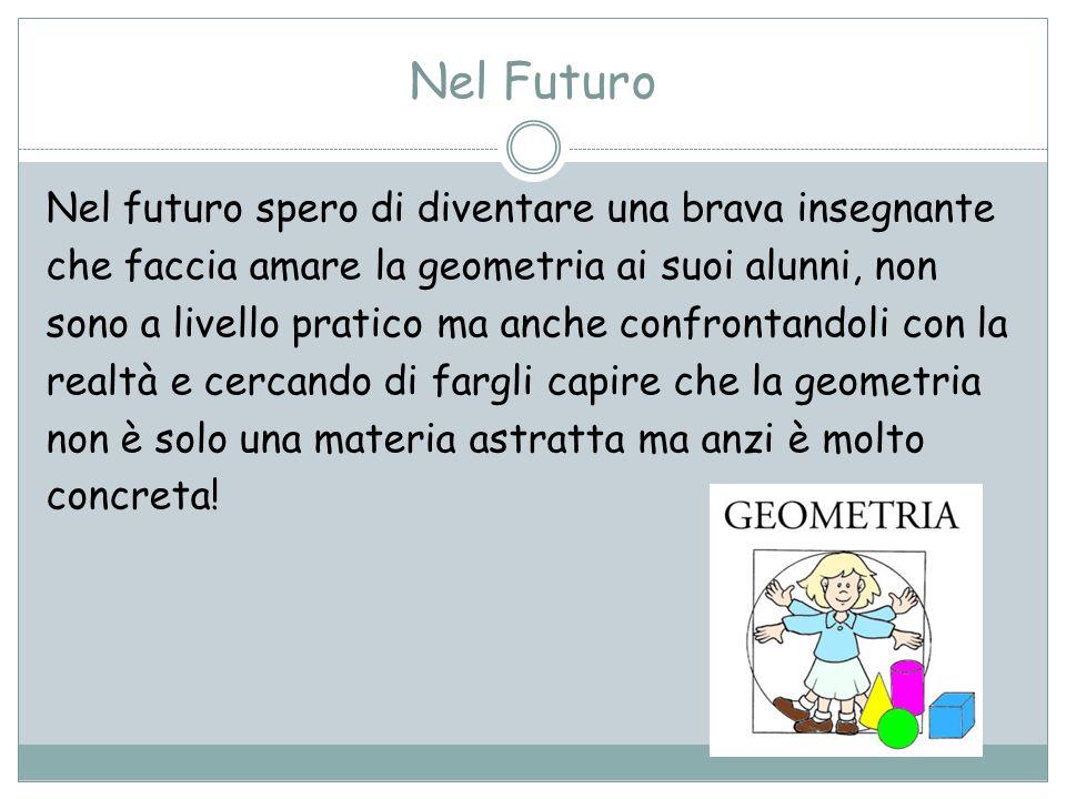 Nel Futuro Nel futuro spero di diventare una brava insegnante che faccia amare la geometria ai suoi alunni, non sono a livello pratico ma anche confro