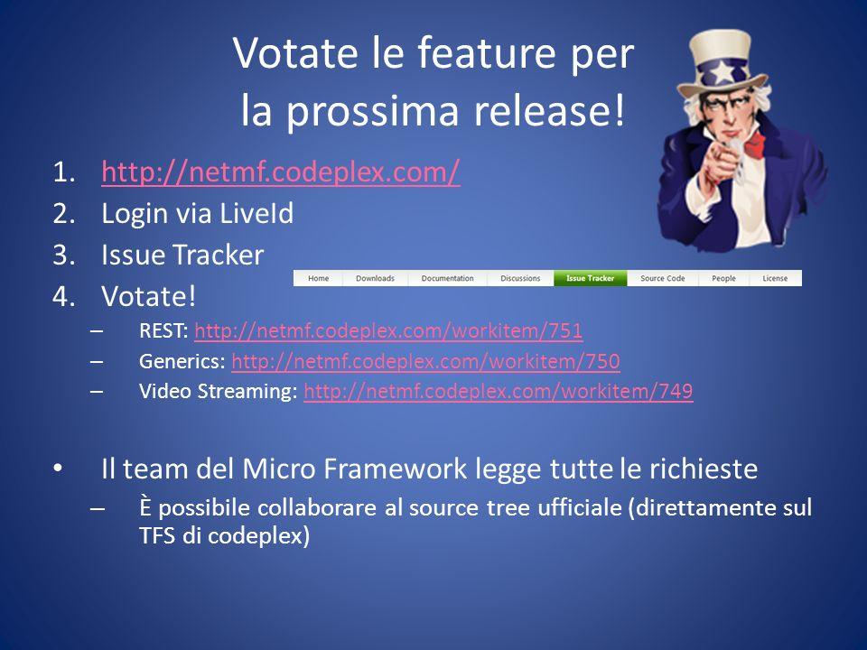 Votate le feature per la prossima release.