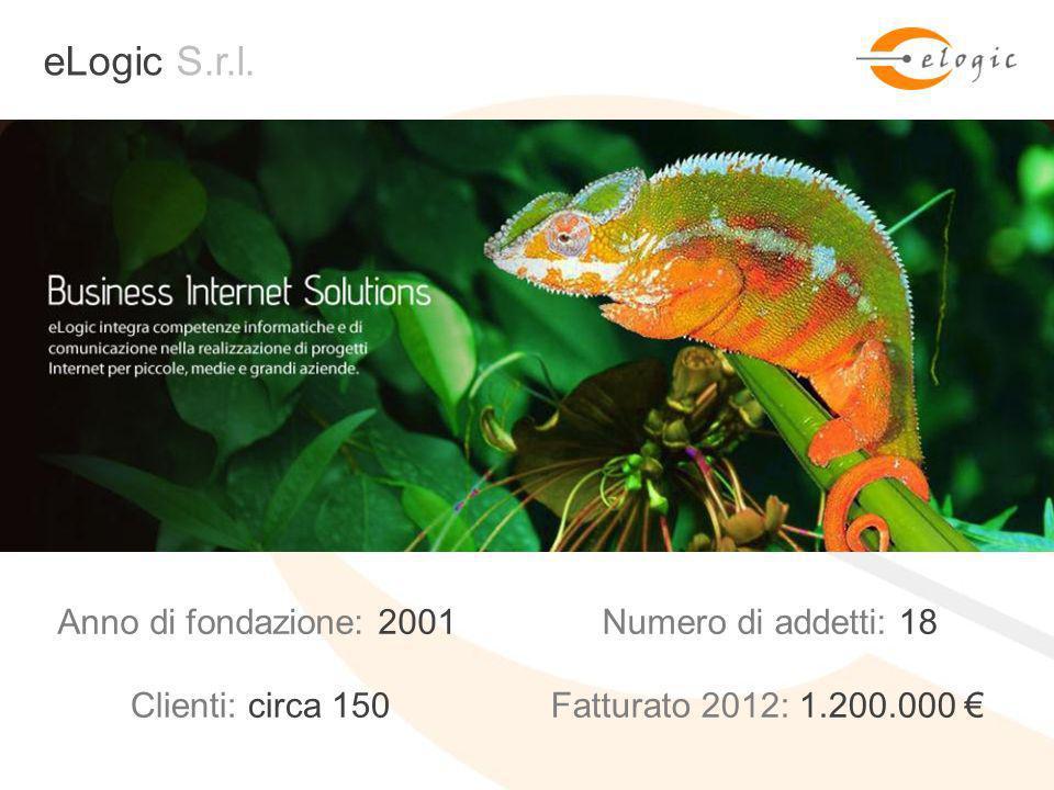 + eLogic Incontri 2013: #NextToYou eLogic S.r.l. Anno di fondazione: 2001Numero di addetti: 18 Fatturato 2012: 1.200.000 Clienti: circa 150