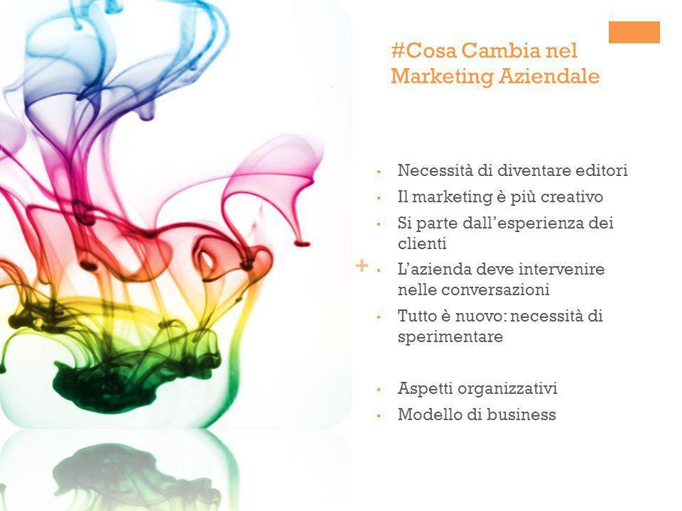 + #Cosa Cambia nel Marketing Aziendale Necessità di diventare editori Il marketing è più creativo Si parte dallesperienza dei clienti Lazienda deve in