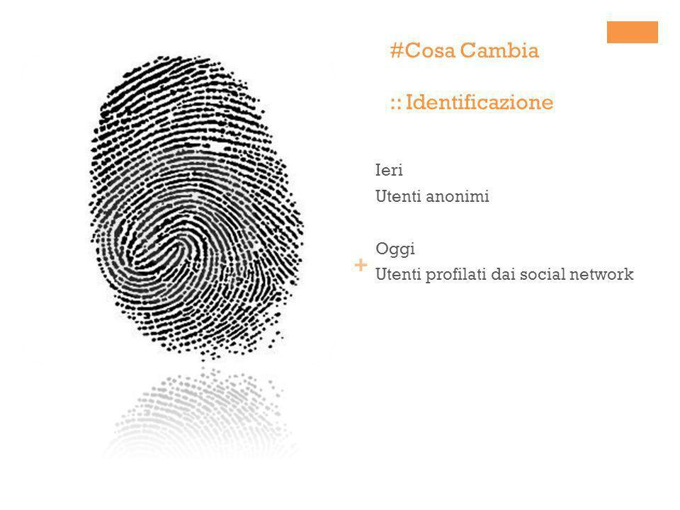 + #Cosa Cambia :: Identificazione Ieri Utenti anonimi Oggi Utenti profilati dai social network