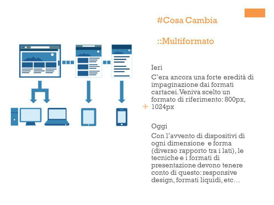 + #Cosa Cambia ::Multiformato Ieri Cera ancora una forte eredità di impaginazione dai formati cartacei. Veniva scelto un formato di riferimento: 800px