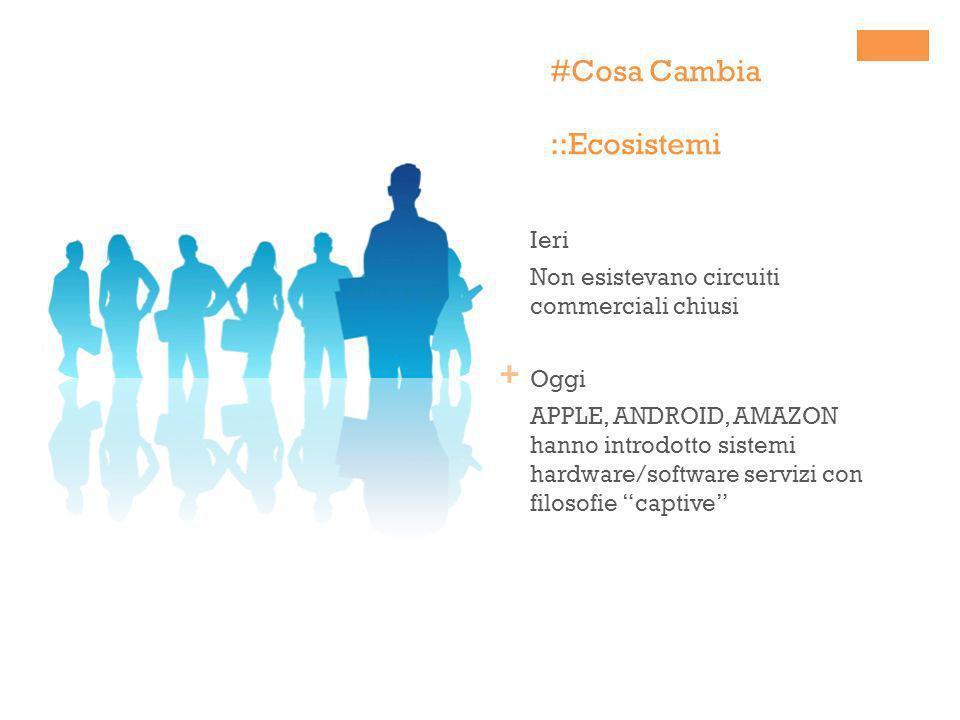 + #Cosa Cambia ::Ecosistemi Ieri Non esistevano circuiti commerciali chiusi Oggi APPLE, ANDROID, AMAZON hanno introdotto sistemi hardware/software ser