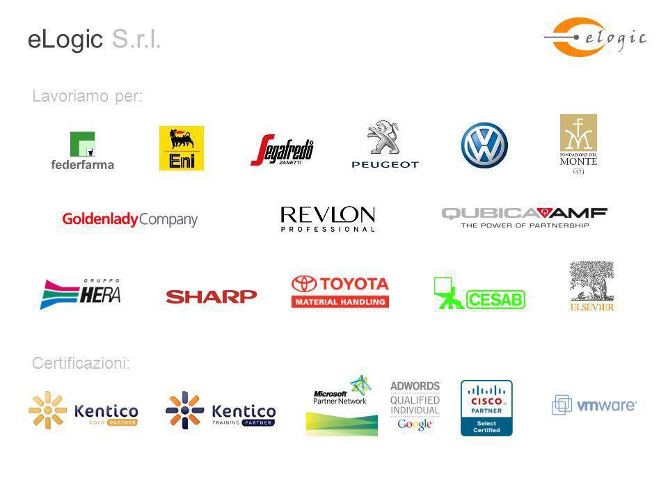 + eLogic S.r.l. Lavoriamo per: Certificazioni: