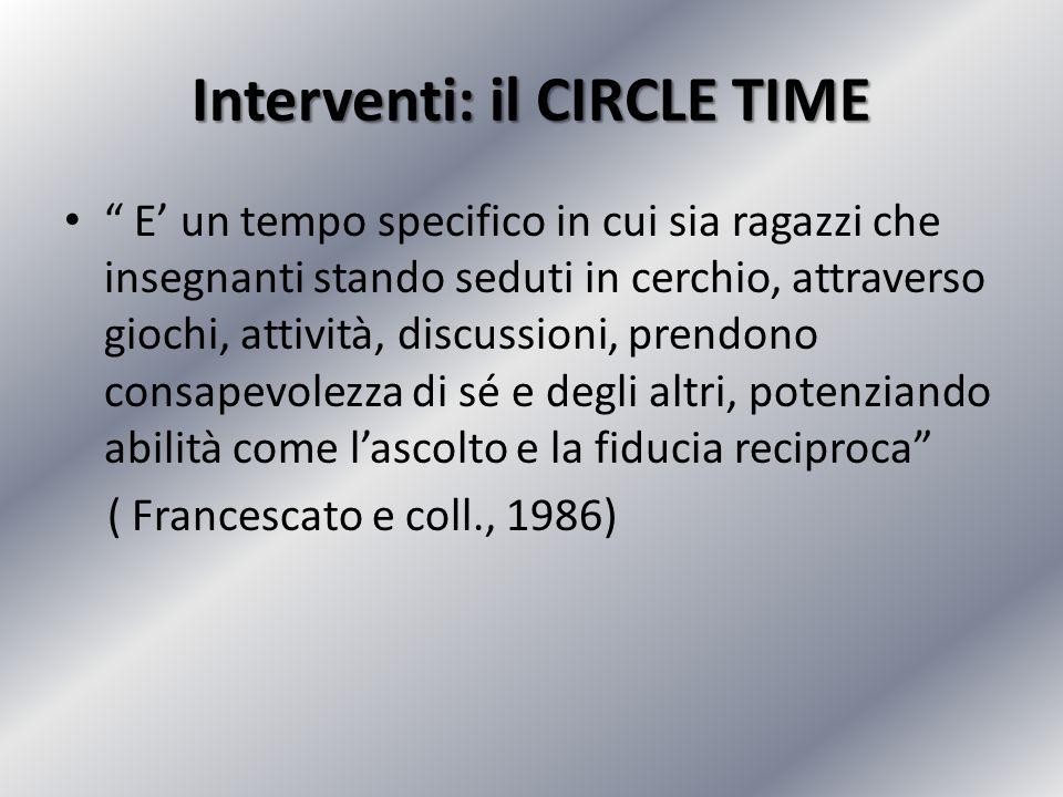 Interventi: il CIRCLE TIME E un tempo specifico in cui sia ragazzi che insegnanti stando seduti in cerchio, attraverso giochi, attività, discussioni,
