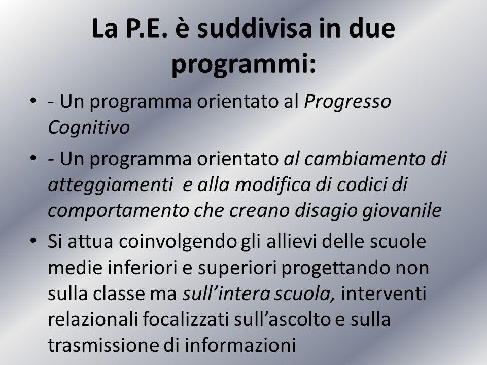 La P.E. è suddivisa in due programmi: - Un programma orientato al Progresso Cognitivo - Un programma orientato al cambiamento di atteggiamenti e alla