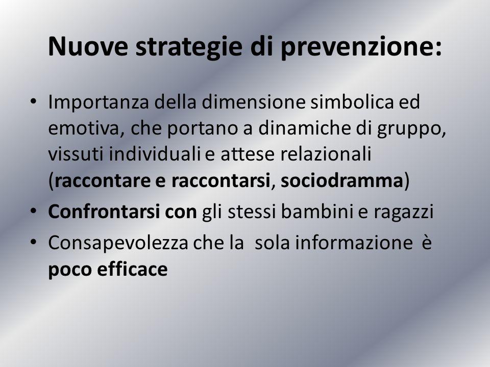 Nuove strategie di prevenzione: Importanza della dimensione simbolica ed emotiva, che portano a dinamiche di gruppo, vissuti individuali e attese rela