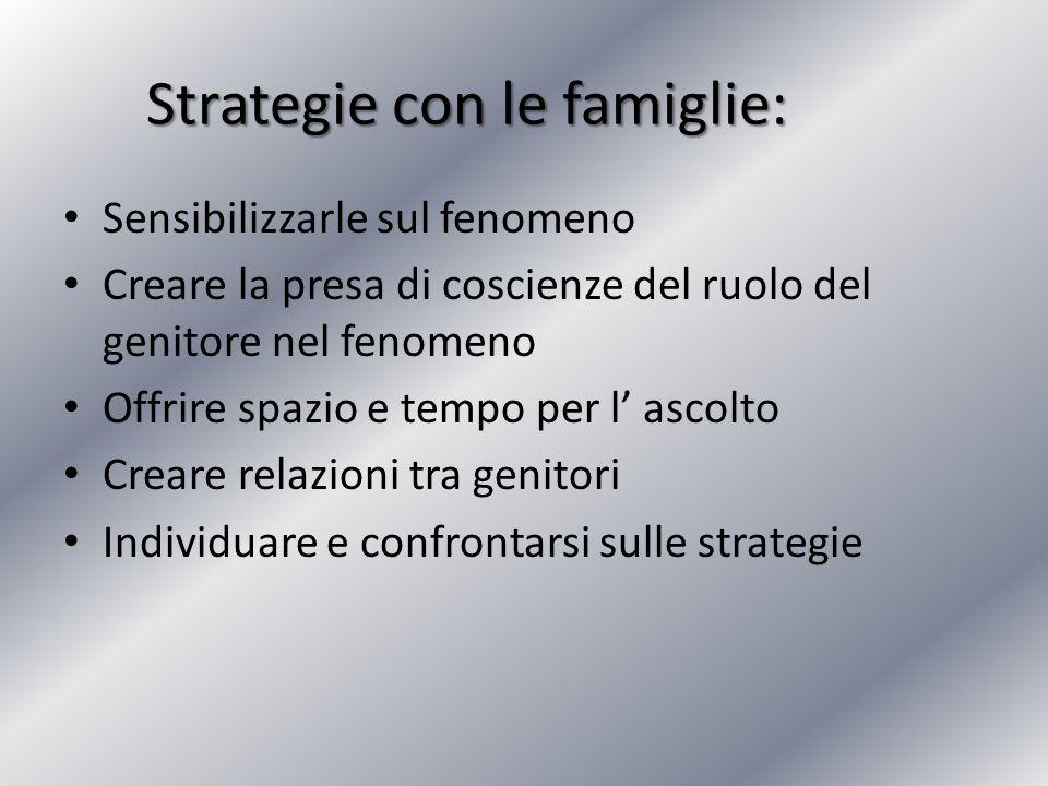 Strategie con le famiglie: Sensibilizzarle sul fenomeno Creare la presa di coscienze del ruolo del genitore nel fenomeno Offrire spazio e tempo per l