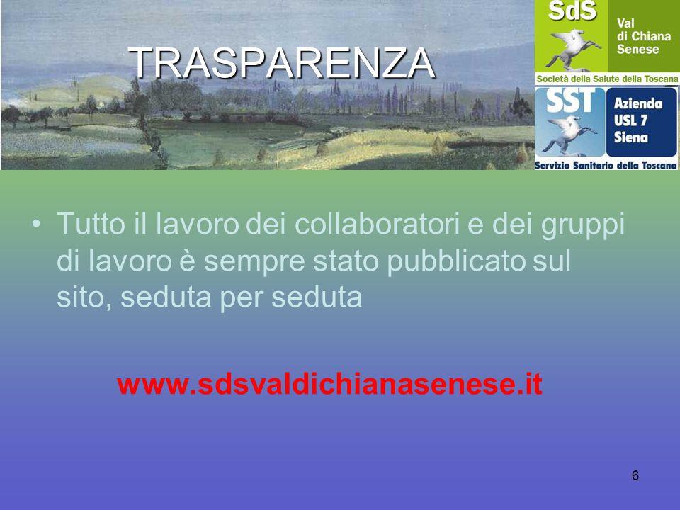 TRASPARENZA Tutto il lavoro dei collaboratori e dei gruppi di lavoro è sempre stato pubblicato sul sito, seduta per seduta www.sdsvaldichianasenese.it