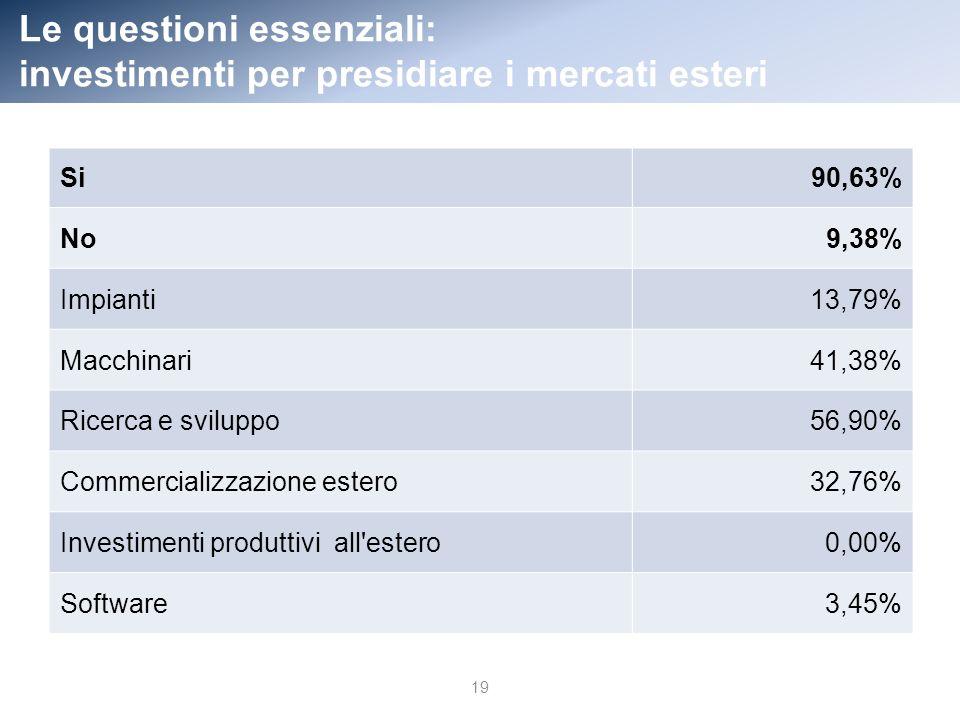 Le questioni essenziali: investimenti per presidiare i mercati esteri Si90,63% No9,38% Impianti13,79% Macchinari41,38% Ricerca e sviluppo56,90% Commercializzazione estero32,76% Investimenti produttivi all estero0,00% Software3,45% 19