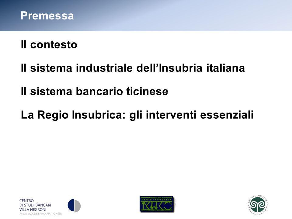 3 Premessa Il contesto Il sistema industriale dellInsubria italiana Il sistema bancario ticinese La Regio Insubrica: gli interventi essenziali