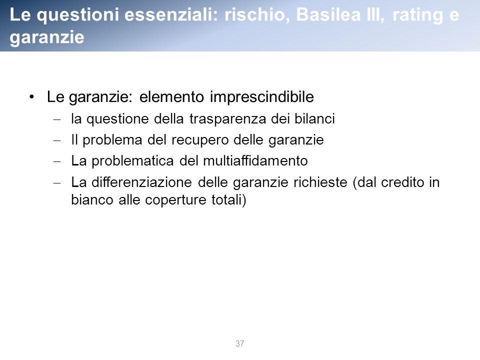 Le questioni essenziali: rischio, Basilea III, rating e garanzie 37 Le garanzie: elemento imprescindibile la questione della trasparenza dei bilanci Il problema del recupero delle garanzie La problematica del multiaffidamento La differenziazione delle garanzie richieste (dal credito in bianco alle coperture totali)