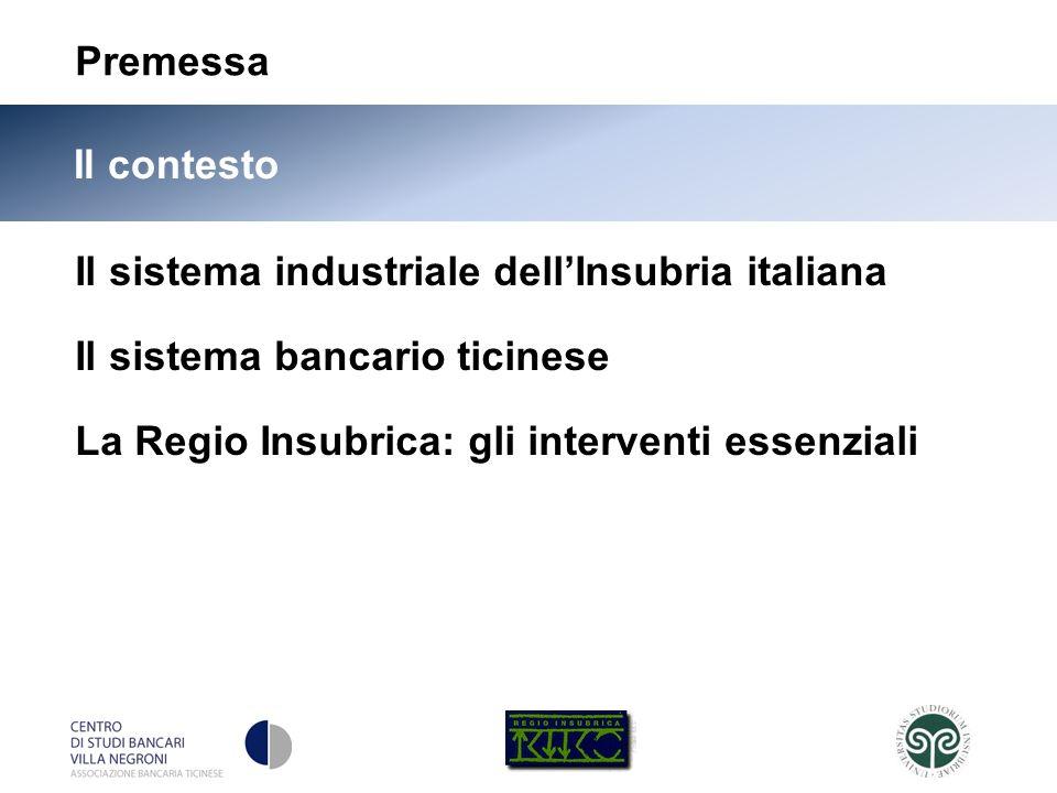 5 Il contesto Il sistema industriale dellInsubria italiana Il sistema bancario ticinese La Regio Insubrica: gli interventi essenziali Premessa