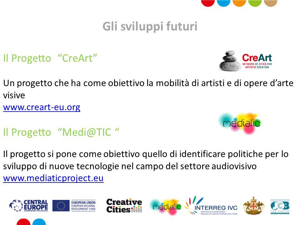 Gli sviluppi futuri Il Progetto CreArt Un progetto che ha come obiettivo la mobilità di artisti e di opere darte visive www.creart-eu.org Il Progetto