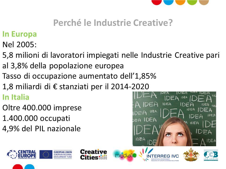 Perché le Industrie Creative? In Europa Nel 2005: 5,8 milioni di lavoratori impiegati nelle Industrie Creative pari al 3,8% della popolazione europea