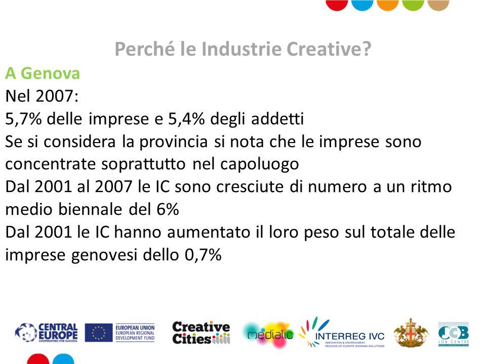 Perché le Industrie Creative? A Genova Nel 2007: 5,7% delle imprese e 5,4% degli addetti Se si considera la provincia si nota che le imprese sono conc
