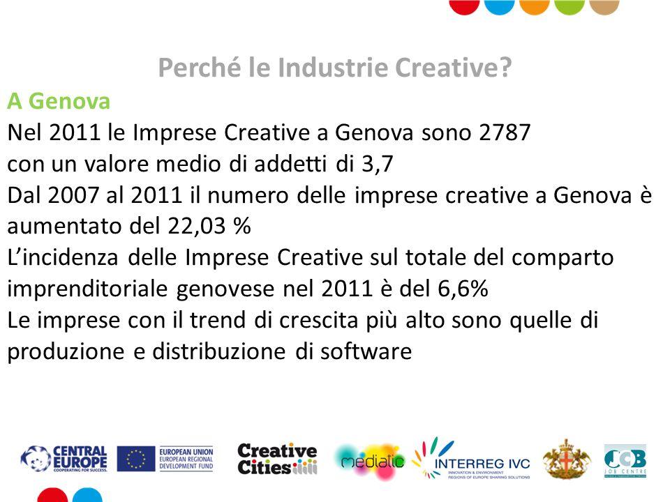 Perché le Industrie Creative? A Genova Nel 2011 le Imprese Creative a Genova sono 2787 con un valore medio di addetti di 3,7 Dal 2007 al 2011 il numer